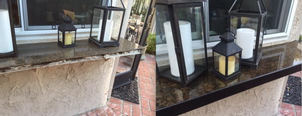 Granite countertop repair with black quartz edge